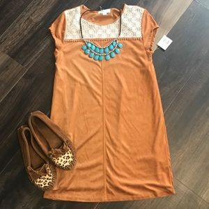 Taylor and Sage faux suede  tan dress
